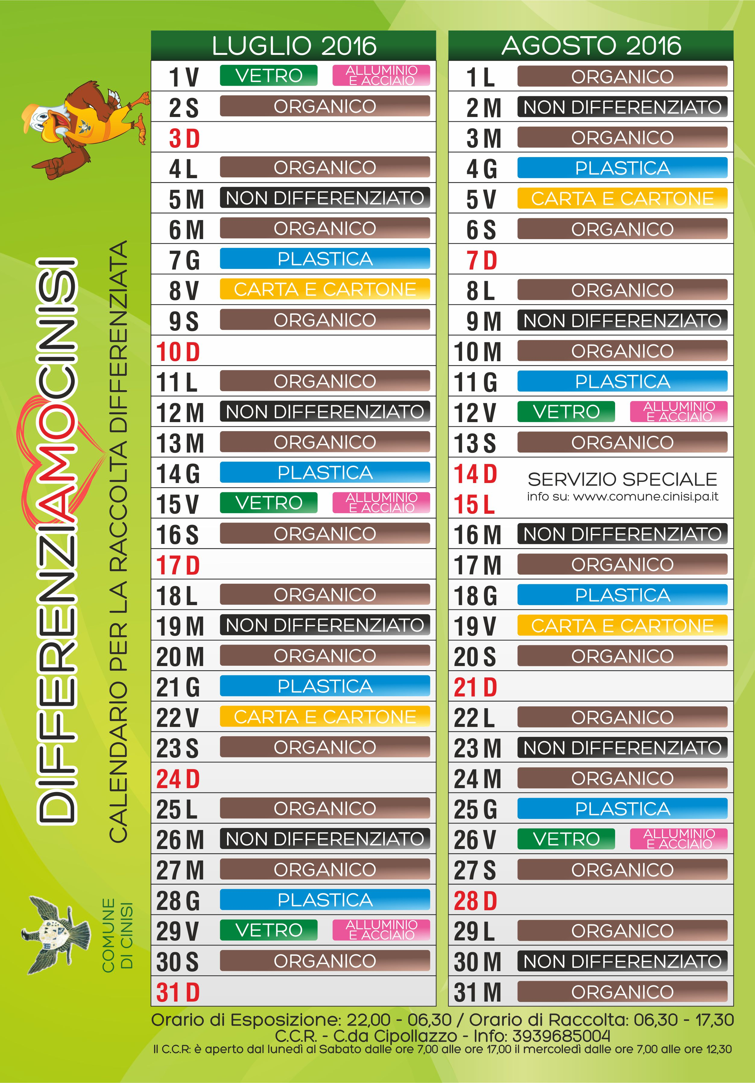 Calendario Raccolta Differenziata Cinisi 2019.Differenziamo Cinisi Comune Di Cinisi